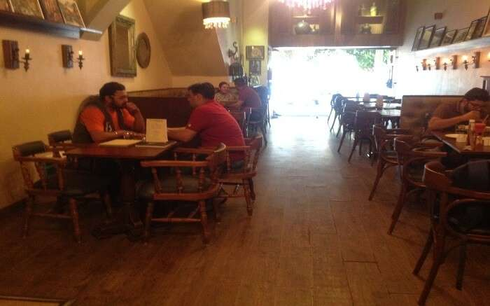 people sitting and chilling in a cafe