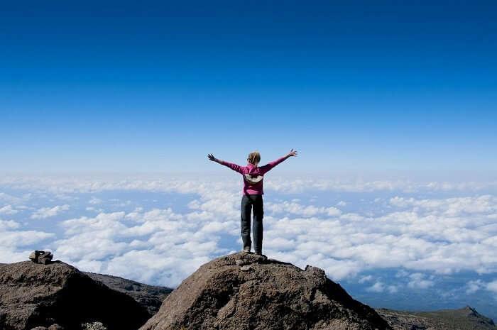 trekker at umbwe route kilimanjaro