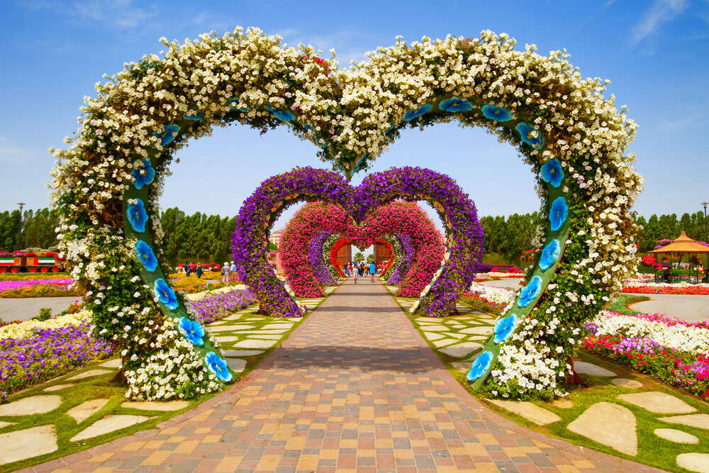 heart shaped arched of flowers