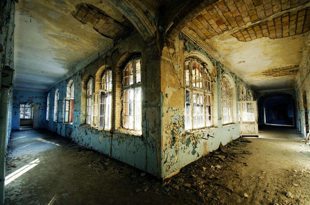 inside a spooky abandoned hospital
