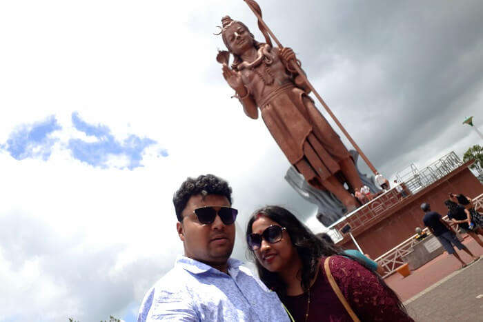 Himanshu honeymoon trip to Mauritius: near Lord Shiva statue