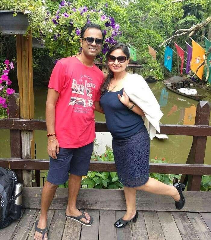 couple in safari park bangkok