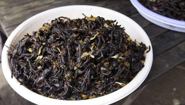 Eat deep fried Tarantulas