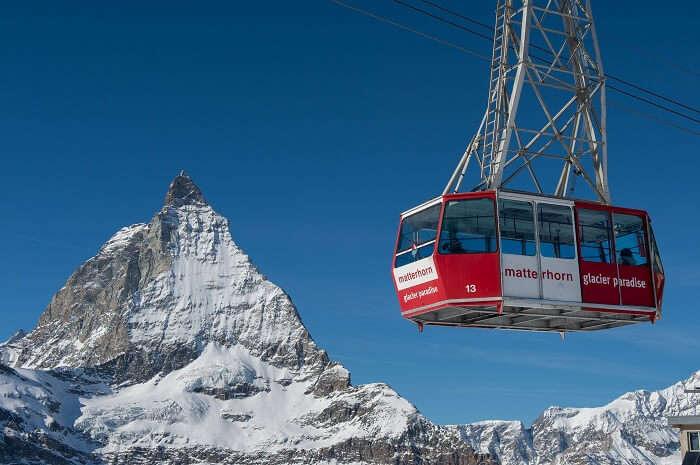 Enjoy thrilling cable car ride from Matterhorn in Zermatt