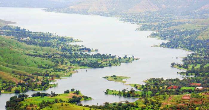 the gorgeous Krishna river amid green valleys