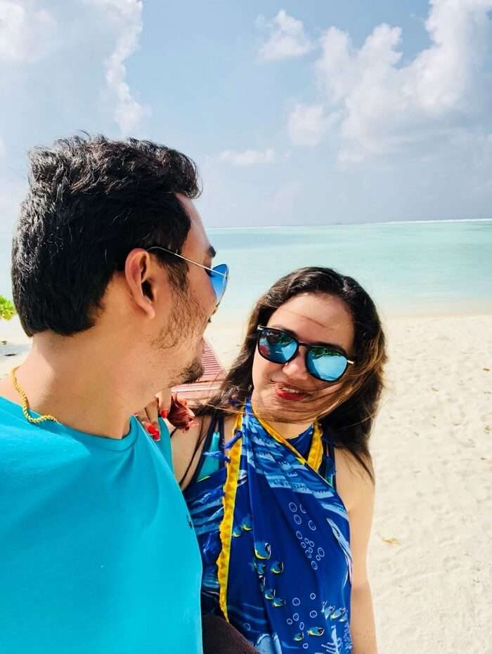 nihal with his wife at sun island resort