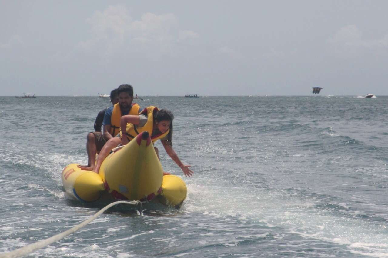 tushar honeymoon trip to Bali: tushar wife banana boat ride