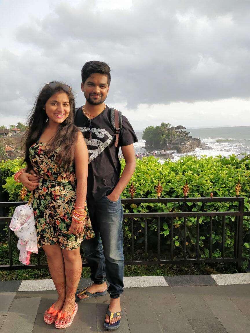 tushar honeymoon trip to Bali: tushar & wife tanah lot