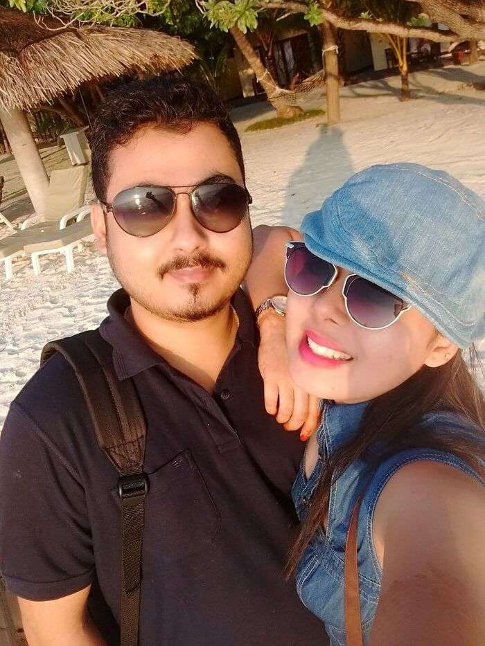 sushmita maldives honeymoon: selfie husband