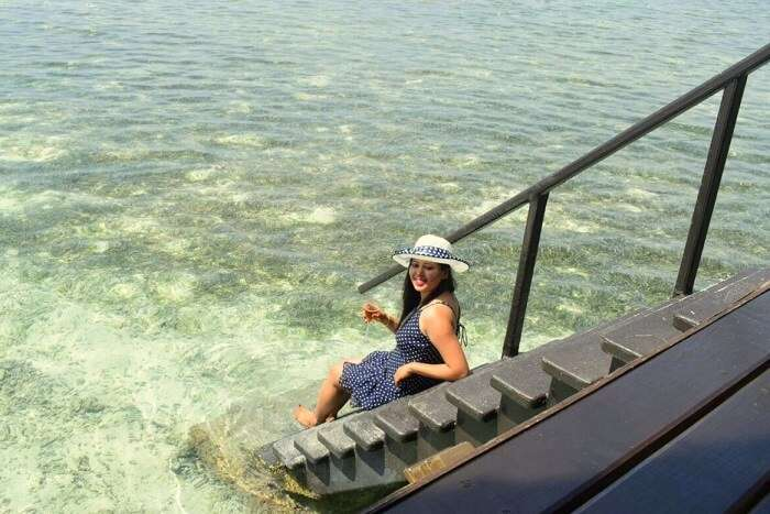 sushmita maldives honeymoon: stairs ocean villa