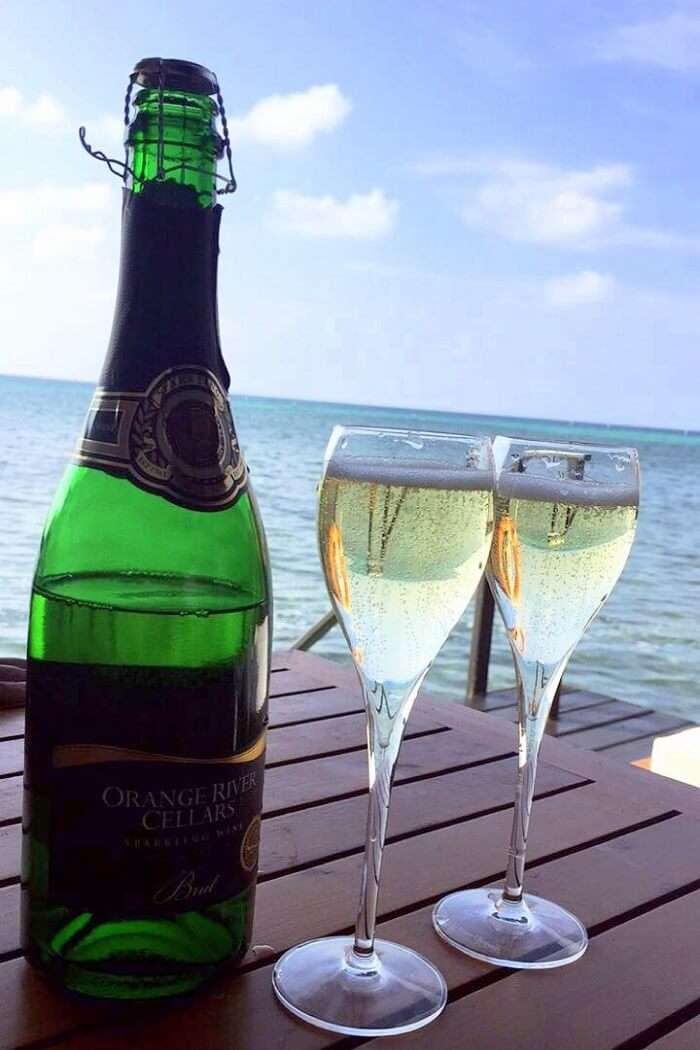 sushmita maldives honeymoon: complimentary champagne