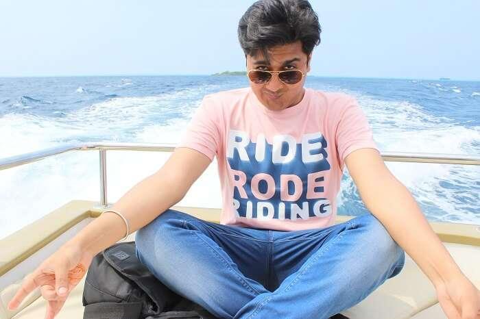 ankit wadhwa maldives honeymoon: posing on cruise