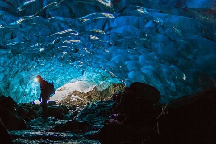 The crystal ice caves look like they're from another world