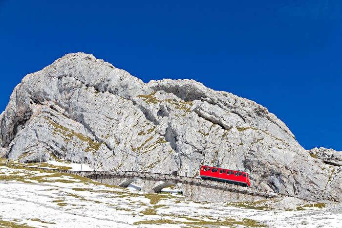Mount Pilatus in a cog wheel railway