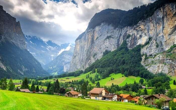 A beautiful town in Switzerland entwined in mountains