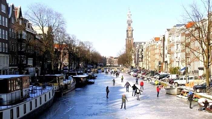 frozen Amsterdam Canals