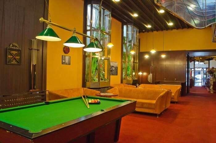 pool lounge in hotel prague