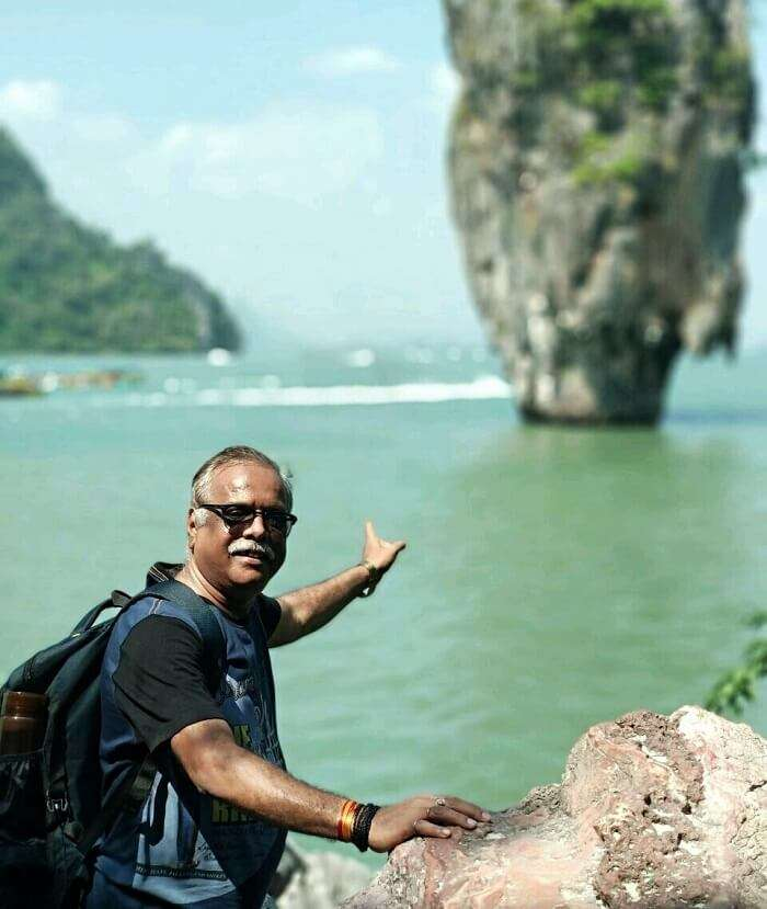 Old male traveler in Thailand