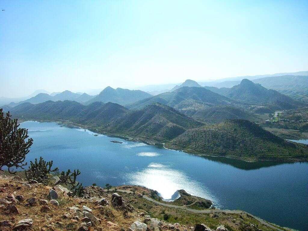 a lake amid mountains