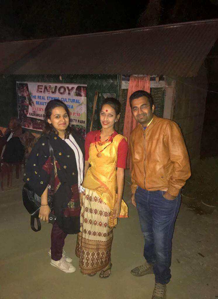 posing with assamese dancer