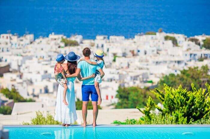 family in santorini
