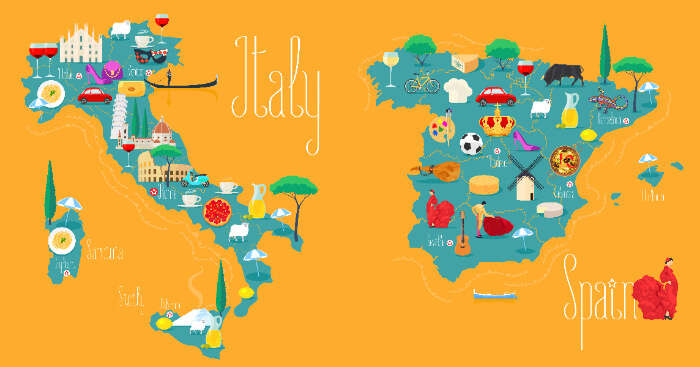 map of italy and spain
