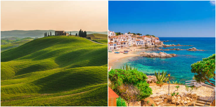 landscapes of Italy and Spain