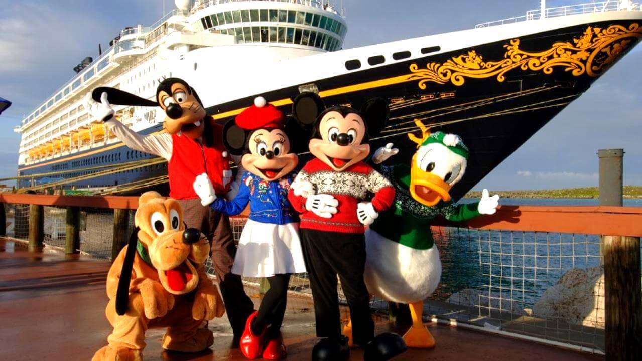 disney characters in front of disney cruise