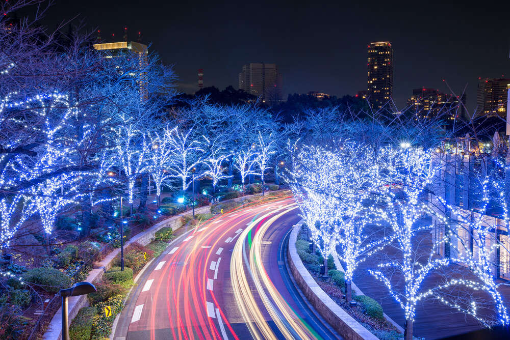 winter illumination on Tokyo roads