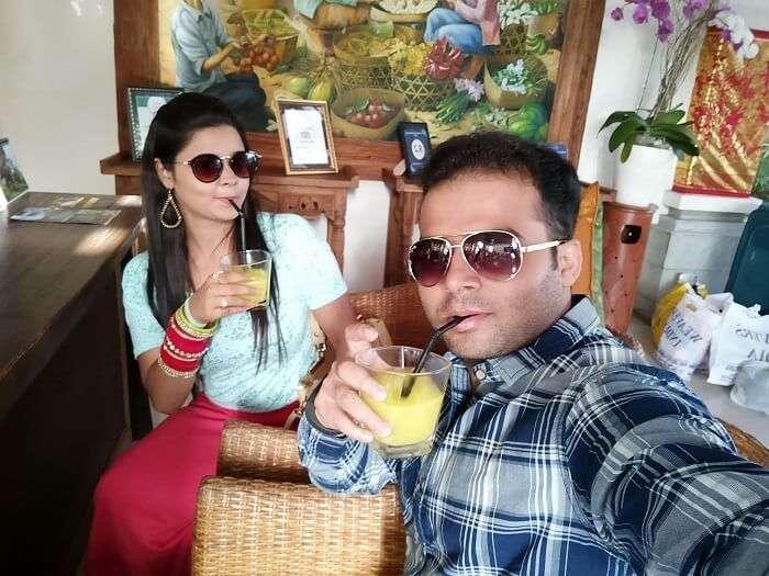 Couple on Bali honeymoon