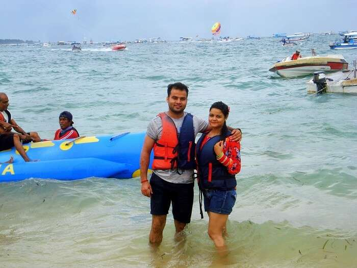 Couple enjoying watersports in Bali