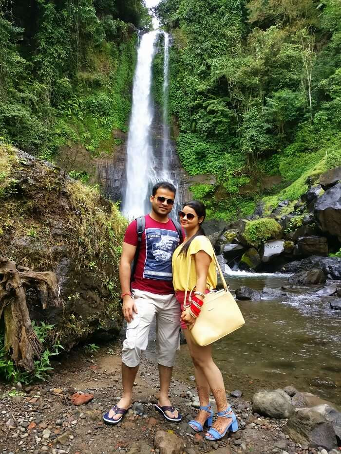 Couple at Gitgit waterfalls