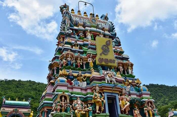 colourful carvings of temple