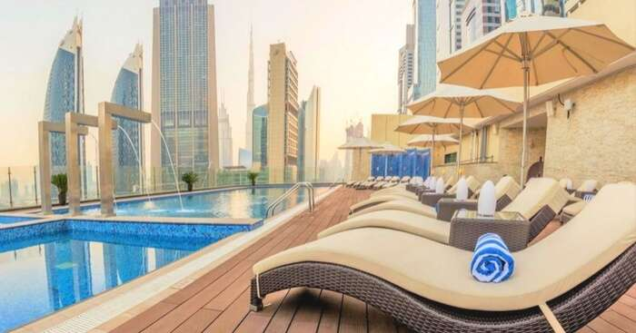 Pool view at hotel Gerova in Dubai