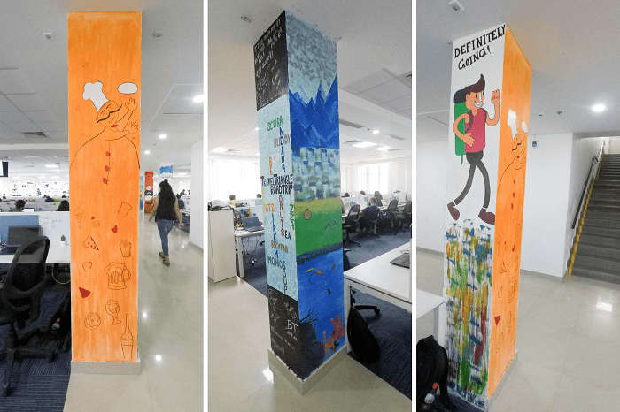 Different sides of the pillar designed by Andman and Sikkim teams