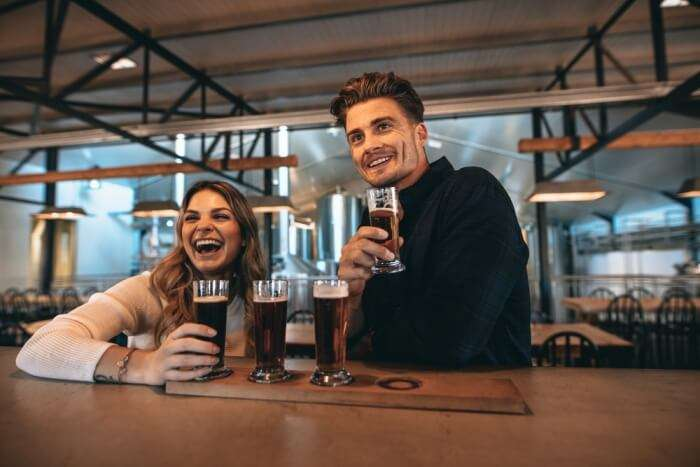 couple in Germany brewery tour