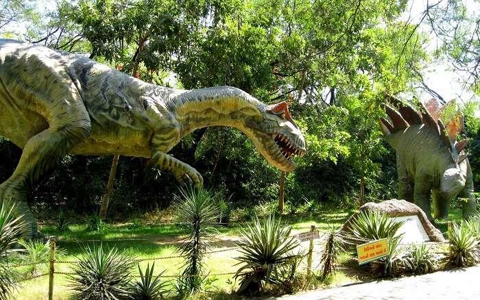 dinosaur in a park