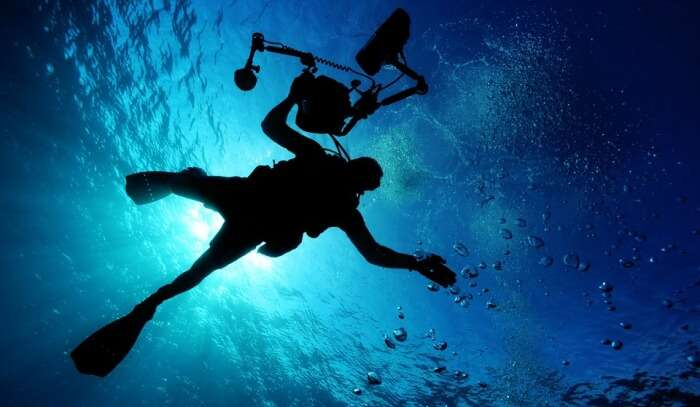 scuba diving at night