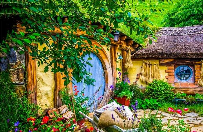 a colorful home in hobbiton village