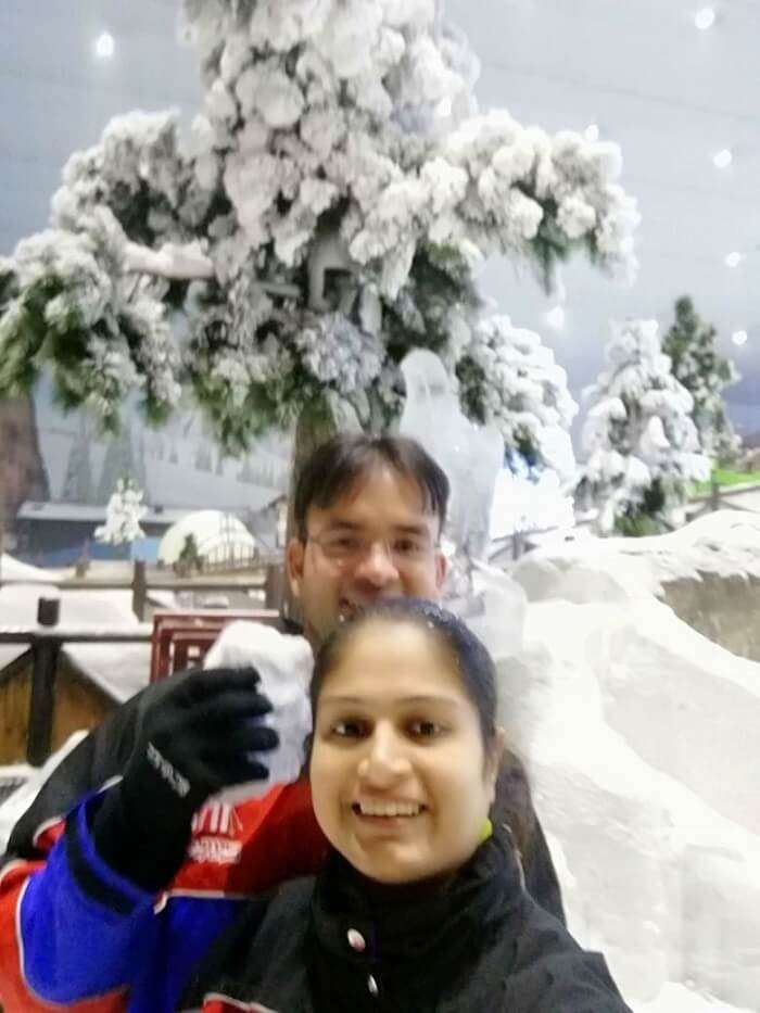 ashish singhal dubai honeymoon trip: in ski dubai snow park