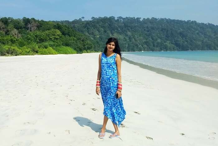 Anurag's wife enjoying at the beach