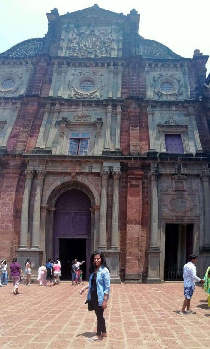 Female traveler at Basilica Bom Jesus