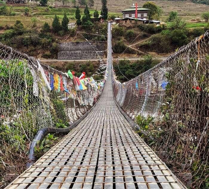 Suspension Bridge in Punakha