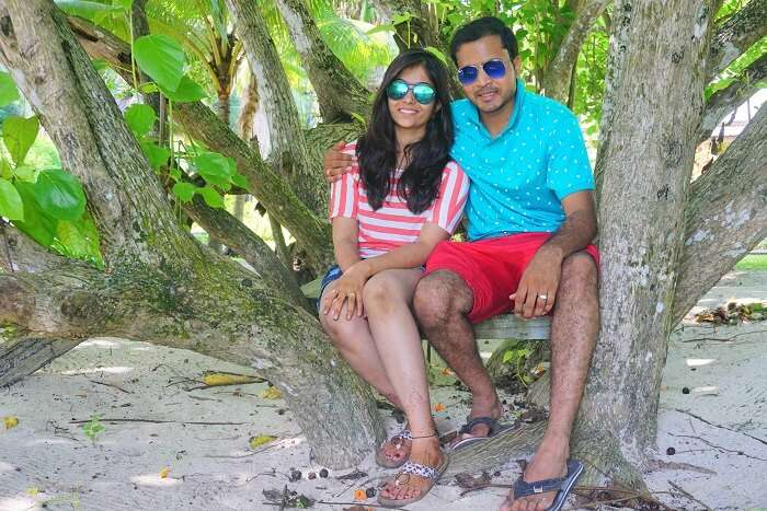 tushar seychelles honeymoon trip: tushar with wife