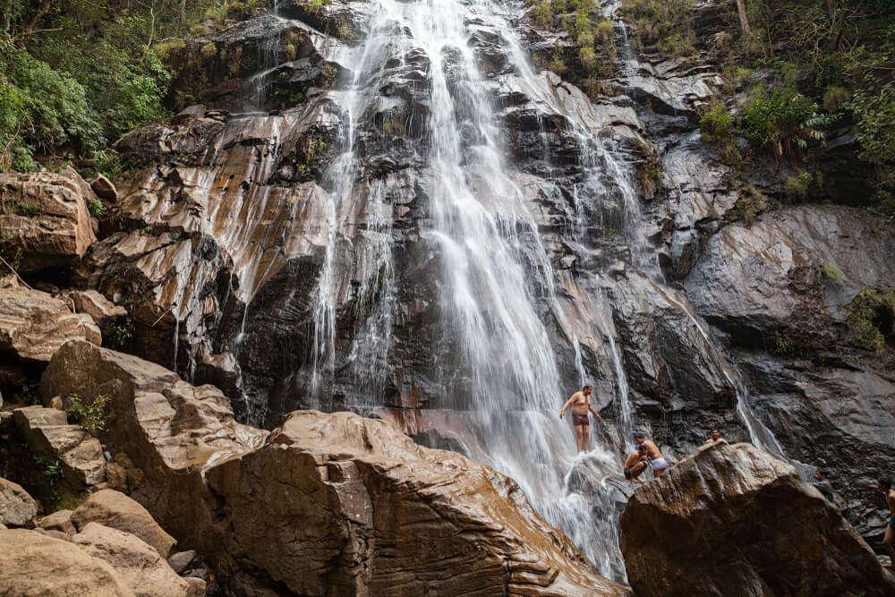 scenic waterfall in three layers