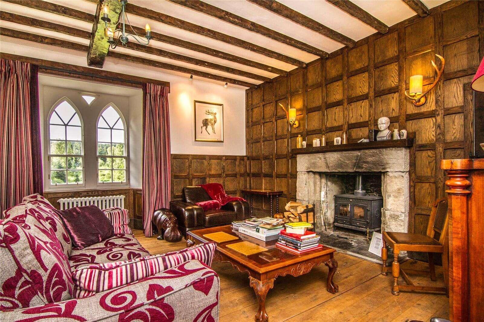 inside the lively living room of Duchray Castle