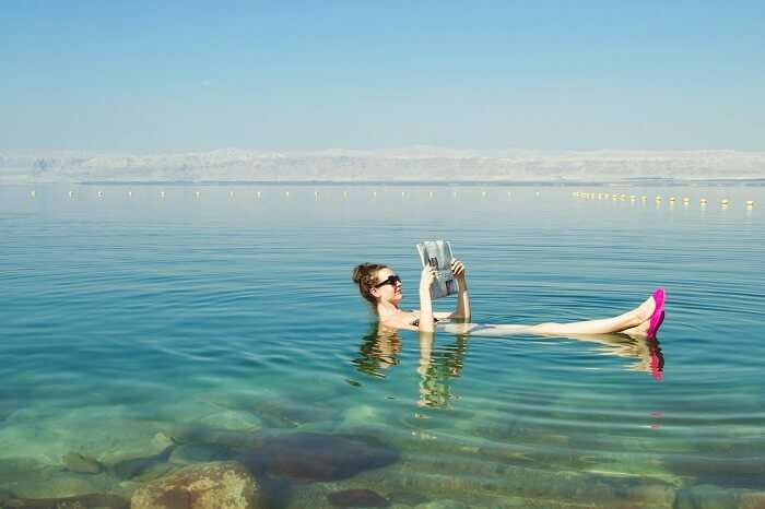 Float in the Dead Sea in israel