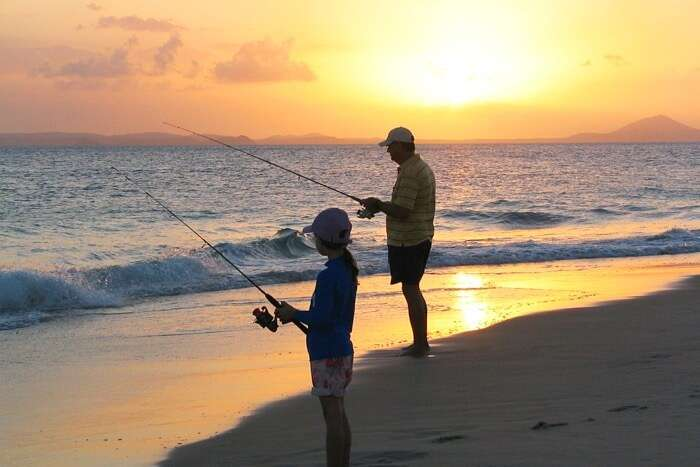 Great Keppel Island Fishing Sunset Daughter Father