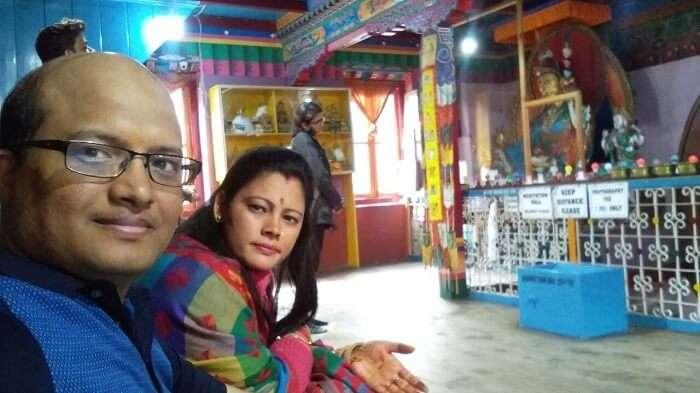 kuldeep manali honeymoon trip: inside monastery