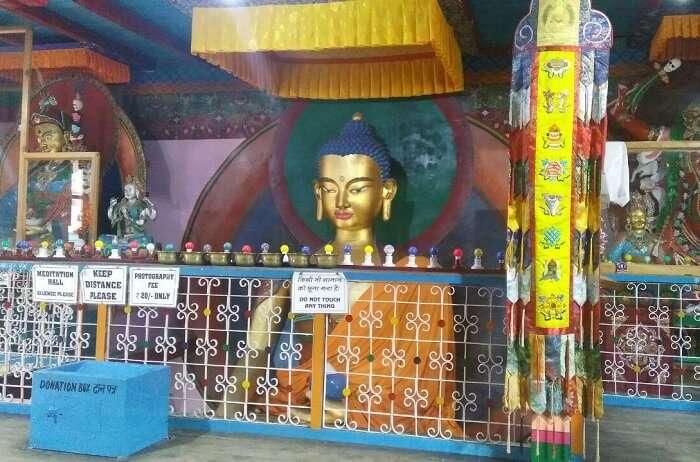 kuldeep manali honeymoon trip: buddha statue in monastery